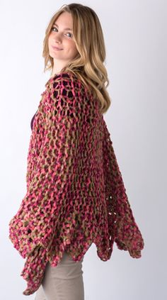 The Knifty Knitter Poncho With Collar Loom Knitting