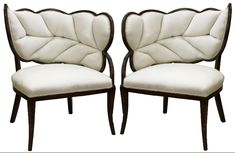 upholstered+chairs | Pair of French Art Deco Leaf Form Upholstered Chairs | nyshowplace.com