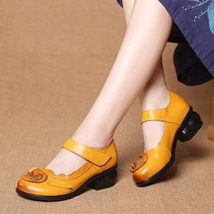High-quality SOCOFY Candy Color Hook Loop Leather Retro Platform Sandals - NewChic Mobile