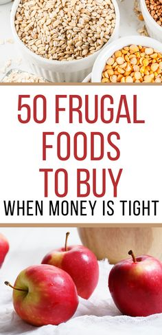 50 Frugal Foods to buy when money is tight. By keeping these frugal foods on hand, you'll be able to make a variety of frugal meals and always have an inexpensive base of ingredients to use when creating your meal plan. Frugal Tips, Frugal Meals, Budget Meals, Dirt Cheap Meals, Cheap Dinners, Dinner On A Budget, Money Saving Meals, How To Get Money, Frugal Living