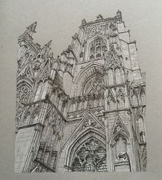 """1,582 Likes, 14 Comments - Phoebe Atkey (@phoebeatkey) on Instagram: """"Here's an old drawing from 2015 - York Minster in pen and white pencil.  #art #drawing #pen #sketch…"""""""