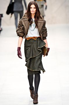 the puffa jacket is very cute and the skirt is killing me. burberry f/w '12. london fashion week.