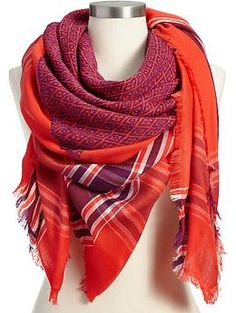 Womens Patterned Oversized Scarves _ I have this scarf, good pop of color and I like the mix of pattern.