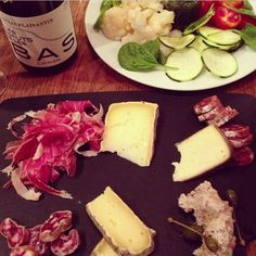 Perfect dinner: charcuterie, crudités, fromage, french bread, wine.