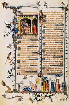 Jean Pucelle (c. 1300 – was a Parisian Gothic-era manuscript illuminator, active between 1320 and from the Belleville Breviary by Jean Pucelle Medieval Life, Medieval Art, Medieval Books, Renaissance Art, Medieval Manuscript, Illuminated Manuscript, Illuminated Letters, Rey David, Cain And Abel