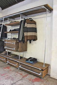 Medium Oak Stained Reclaimed Pine Scaffolding Boards and Galvanised Steel Pipe Wall Mounted and Floor Standing Industrial Chic Dressing Room Wardrobe system - Its industrial design works perfectly in… Industrial Chic, Vintage Industrial Furniture, Industrial Interiors, Industrial Apartment, Industrial Closet, Rustic Closet, Industrial Bookshelf, Industrial Windows, Industrial Restaurant