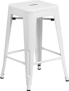 24'' High Backless White Metal Indoor-Outdoor Counter Height Stool with Square Seat $36