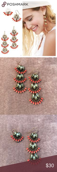 Versatile Stella & Dot Coral Cay Earring These earrings are great, you can wear all three tiers for more dramatic look, or chill it out by removing the bottom two. The stones are a pretty yellow and the enamel is coral. Stella & Dot Jewelry Earrings