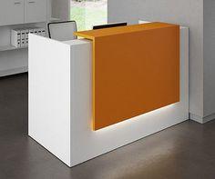 Luz-combinación colores Small Reception Desk, Reception Desk Design, Office Reception, Reception Counter, Reception Table, Bureau Design, Design Salon, Reception Furniture, Office Furniture
