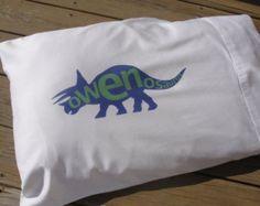 Dinosaur Pillowcase, Personalized Dinosaur Pillowcase, Dinosaur Bedding, Children's Pillow Case Dinosaur Comforter, Orange Rooms, Pink Bedding, Duvet Covers, Comforters, Pillow Cases, Pillows, Sewing, Fabric