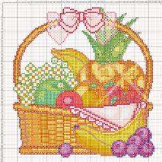 Dibujos Punto de Cruz Gratis: Frutas