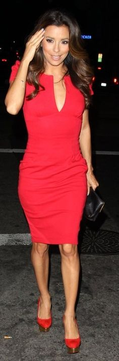 Eva Longoria's red short sleeve dress and red with gold platform pumps