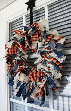 Fourth of July Crafts: This rag wreath creates a welcoming decoration for any front door. of July Rag Wreath - Beyond the Aisle Fourth Of July Decor, 4th Of July Decorations, 4th Of July Party, July 4th, 4th Of July Wreaths, Patriotic Wreath, Patriotic Crafts, Americana Crafts, Patriotic Party