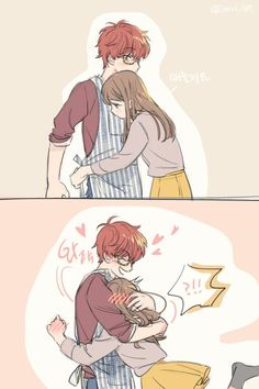 Find images and videos about anime, Mc and mystic messenger on We Heart It - the app to get lost in what you love. Couples Comics, Anime Couples Drawings, Anime Couples Manga, Cute Anime Couples, Anime Girls, Anime Couples Cuddling, Anime Couples Hugging, Mystic Messenger Characters, Mystic Messenger Fanart