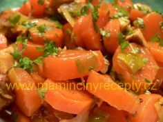 Dušená mrkev s tofu Cantaloupe, Salsa, Food And Drink, Vegetarian, Stuffed Peppers, Fruit, Vegetables, Ethnic Recipes, Diet
