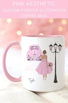 Imagine sipping your favorite coffee blend whilst sipping from this beautiful girly mug.. Oh and did I mention you get to personalize it too?! Or perhaps you´re looking for the perfect girly gift? I´ve got you covered! A pretty pink aesthetic coffee mug with a watercolor design of a girl in a sparkly pink coctail dress and pink high heels. AND to say thank you for supporting my small biz I´m including a *Free Custom Art Printable* with the same custom design. girly mug design // cute pink mug Handcrafted Gifts, Handmade Home Decor, Etsy Handmade, Custom Art, Custom Mugs, Custom Design, Aesthetic Coffee, Pink Aesthetic, Valentines Gifts For Her