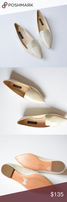 """Andrew Kayla """"Louise"""" Pearl Snake Loafers Beautiful luminous snakeskin leather loafers with iridescent, rainbow pearl effect. Low 10mm heel. Soft leather lining and cushioned insole, leather sole. These show light signs of wear but are still in great condition. Size 37. Modern touch to a timeless style. """"Guided by craftsmanship, every Andrew Kayla shoe is perfectly proportioned to elongate the leg, slim the foot, and provide support and stability, allowing its wearer to stand tall."""" Andrew…"""