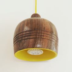 Walnut & Yellow lamp #woodturning #woodworking Karla Díaz Merino