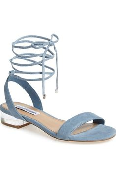Free shipping and returns on Steve Madden 'Carolyn' Lace-Up Sandal (Women) at Nordstrom.com. A gilt heel catches the light on a contemporary sandal crafted from lush suede in a minimalist silhouette with svelte, leg-lengthening lace-up straps.