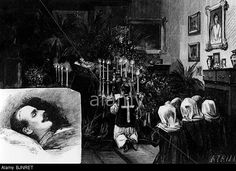 Rudolf, 21.8.1858 - 30.1.1889, Crown Prince of Austria-Hungary, death, hist corpse in the bedroom of Emperor Francis I.
