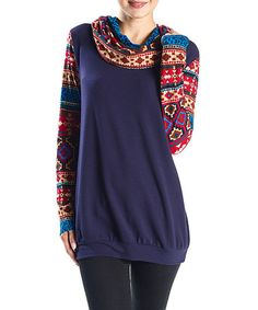 This Navy Geometric-Accent Cowl Neck Top is perfect! #zulilyfinds