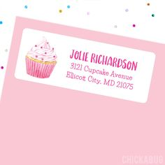 Paper goods and DIY printables for parties and holidays Pink Cupcakes, Personalized Labels, Pink Parties, Address Labels, Paper Goods, Pretty In Pink, Gift Wrapping, Watercolor, Mini