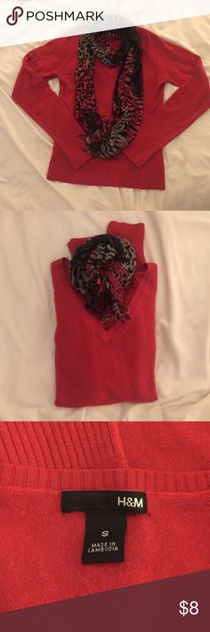 Pretty red holiday basic sweater Red H&M sweater in very good condition. I've only worn it a few times. Makes a great basic sweater for layering and goes well with jeans, skirts, and leggings. Scarf shown can be purchased separately or with the sweater in a bundle. This makes a perfect addition to your holiday season wardrobe! H&M Sweaters V-Necks