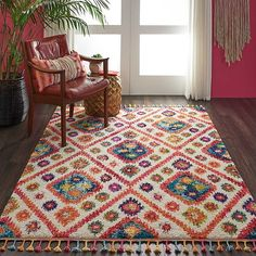 Nourison Moroccan Casbah Ivory/Pink Tassel Rug - 3 x 9 Nourison Rugs, Shag Carpet, Floral Area Rugs, Area Rug Sizes, Tribal Rug, Runes, Colorful Rugs, Bohemian Rug, Boho