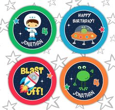 Space Rocket party pdf printable outer space PERSONALIZED cupcake toppers / favor treat bag tags - astronaut, spaceship, alien ship for boy