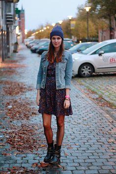 beanie / jean jacket / dress