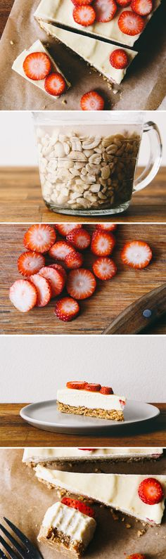 Almost Raw Vegan Cheesecake with Strawberries. Yes, please!