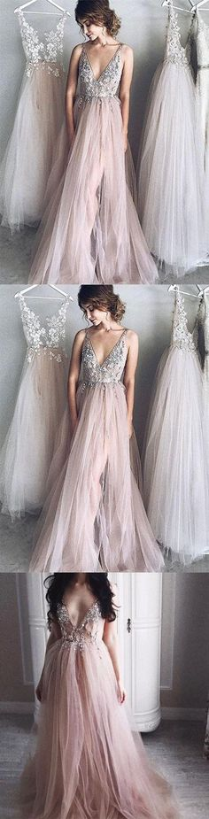 Sexy A-Line Deep V-Neck Champagne Tulle Long Prom/Evening Dress with Appliques M1091#prom #promdress #promdresses #longpromdress #promgowns #promgown #2018style #newfashion #newstyles #2018newprom#eveninggown#deepvneck#champagnetulle#appliques