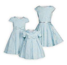 Ice Blue Sateen Swing Dress