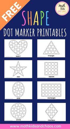 Dot marker shape printables (FREEBIE!) - Math, Kids and Chaos