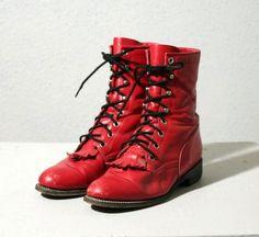 Cherry Bomb Leather Combat Boots