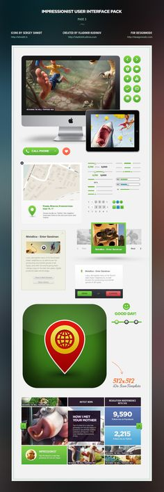 Impressionist User Interface Pack - Sharp UI design by Vladimir Kudinov #webdesign #UI