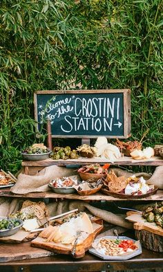 Want to create your own crostini station? Let us inspire you. Use wooden platters and earthy tableware to accent your display and leave your guests speechless.   #WeddingFood #PSWeddingsAndEvents #Yum