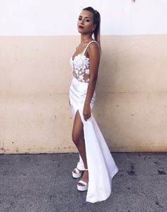 White Straps Split Side Prom Dresses with Lace,Modest Sexy Prom Dresses CR 3286 Prom Party Dresses, Homecoming Dresses, Evening Dresses, Formal Dresses, Wedding Dresses, Matric Dance Dresses, Lace Dress, Outfits, Instagram