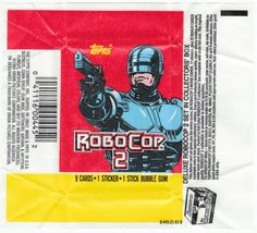 ROBOCOP 2 TRADING CARD WAX PACK WRAPPERS: 1990, Topps, set of both (2 different), wrappers have regular fold lines, but no tears and have been stored opened flat for the last 20 years. Both wrappers for $1