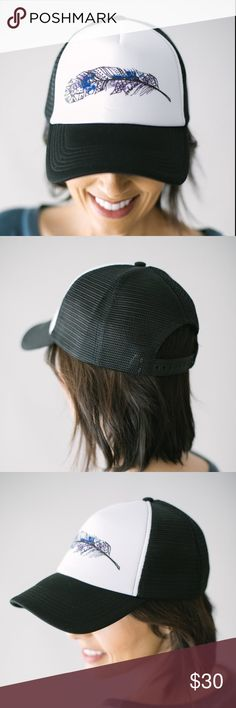 NWOT Water Color Feather Trucker Hat Is there any word for this hat other than FAB??????? Adjustable and never worn. Bought online thinking I'd give the trucker hat a try and it's just not my style. It's soooo cute though. Wish I could pull it off. This item won't last long!! Hurry and snatch this gem up! Accessories Hats