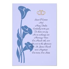 Calla Lily Blue Invitation for any occasion, change the text and background color too! Template can be used for wedding, anniversary or engagement. This is a simple and chic design that will suit any occasion. Wedding Color Schemes, Wedding Colors, Peony Colors, Marriage Vows, Calla Lily, Wedding Engagement, Colorful Backgrounds, Create Yourself, Invitations