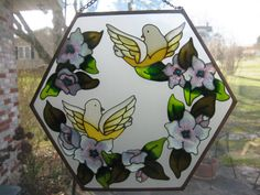 Sun Catcher Brass edged frosted glass with yellow by LuciesLuvlies