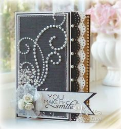 Love the element composition on this elegant card. #cards #scrapbooking #card_making