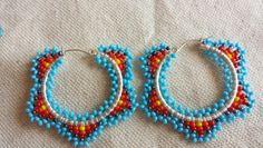 Hoop earrings Seed Bead Jewelry, Seed Bead Earrings, Beaded Earrings, Beaded Jewelry, Crochet Earrings, Seed Beads, Hoop Earrings, Jewellery, Native Beadwork
