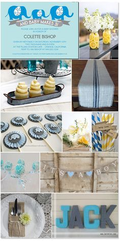 Blue & yellow rustic boy baby shower... Love the straws, table runner, banner & centerpiece