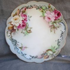 Lovely Antique Limoges France Signed Roses Gold Trim Porcelain Plate Wall Decor | eBay
