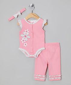 Take a look at this Pink Polka Dot Flower Layette Set - Infant by Petite Bears on #zulily today!