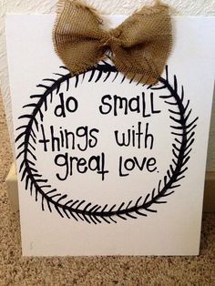 do small things with great love canvas on Etsy, $10.00