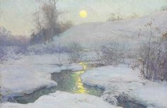 Walter Launt Palmer (1854-1932)  Moonrise at Dusk  signed 'W.L. Palmer' (lower left)  oil on canvas  17 x 25¾ in. (43.2 x 65.4 cm.)