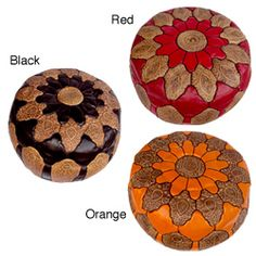 Hand-crafted Round Mosaic Black Leather Ottoman (Made in Morocco) | Overstock™ Shopping - Top Rated Red Labeled Ottomans
